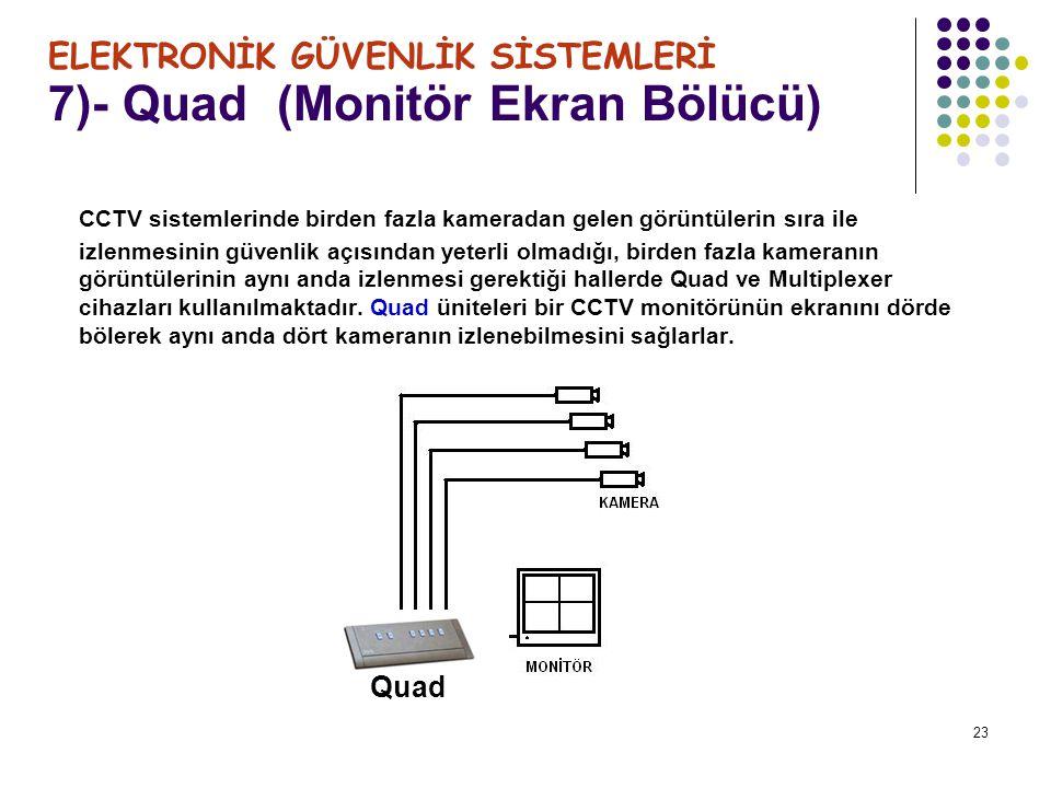 23 7)- Quad (Monitör Ekran Bölücü) ELEKTRONİK GÜVENLİK SİSTEMLERİ CCTV sistemlerinde birden fazla kameradan gelen görüntülerin sıra ile izlenmesinin g