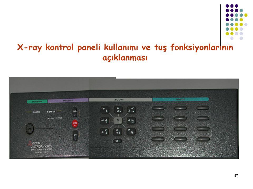 48 12-X-ray kontrol paneli kullanımı ve tuş fonksiyonlarının açıklanması ON/OFF KEY Power on Lamb.