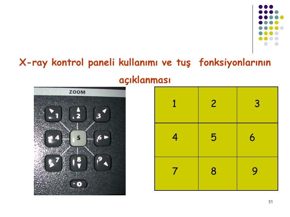 52 X-ray kontrol paneli kullanımı ve tuş fonksiyonlarının açıklanması