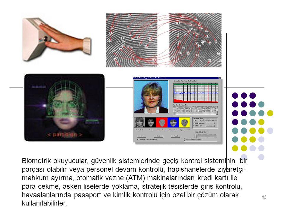 93 DEĞİŞMEYEN ÖZELLİKLER * Yüz Tanıma, * Parmak İzi Tanıma, * El Geometrisi Tanıma, * İmza Tanıma, * Göz İris Tanıma, * Ses Tanıma