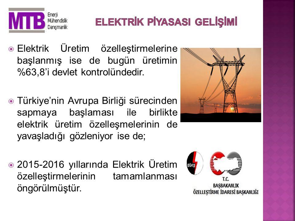  Elektrik Üretim özelleştirmelerine başlanmış ise de bugün üretimin %63,8'i devlet kontrolündedir.