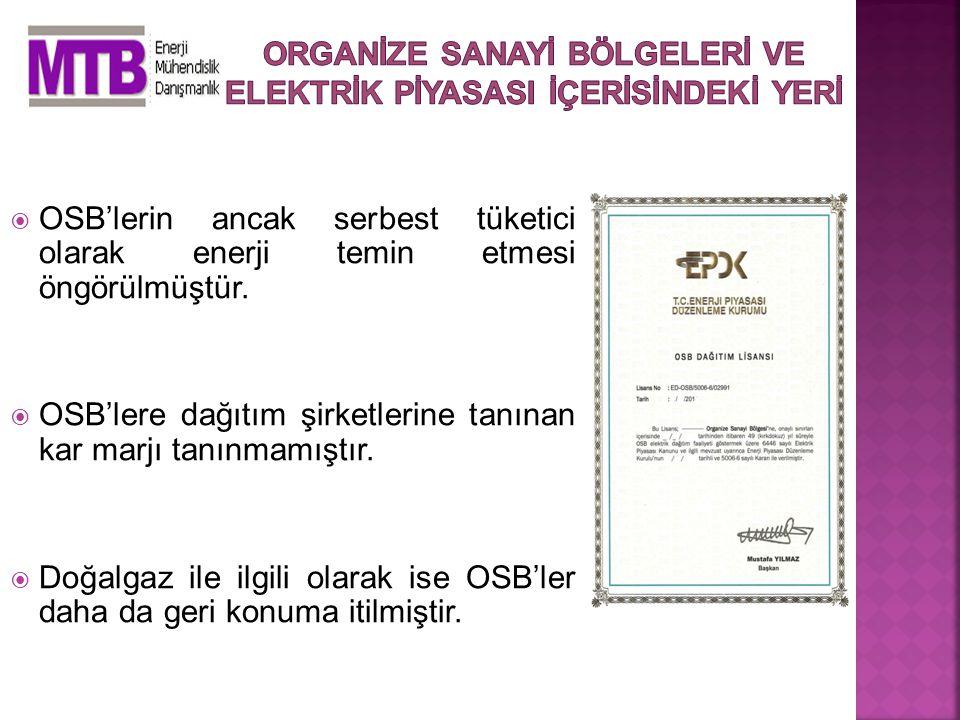  OSB'lerin ancak serbest tüketici olarak enerji temin etmesi öngörülmüştür.