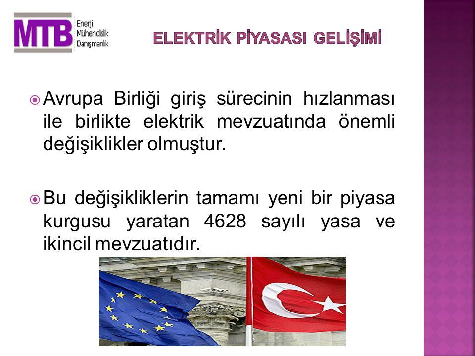  Avrupa Birliği giriş sürecinin hızlanması ile birlikte elektrik mevzuatında önemli değişiklikler olmuştur.