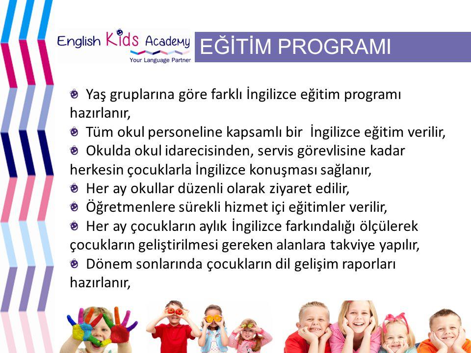 EĞİTİM PROGRAMI Yaş gruplarına göre farklı İngilizce eğitim programı hazırlanır, Tüm okul personeline kapsamlı bir İngilizce eğitim verilir, Okulda okul idarecisinden, servis görevlisine kadar herkesin çocuklarla İngilizce konuşması sağlanır, Her ay okullar düzenli olarak ziyaret edilir, Öğretmenlere sürekli hizmet içi eğitimler verilir, Her ay çocukların aylık İngilizce farkındalığı ölçülerek çocukların geliştirilmesi gereken alanlara takviye yapılır, Dönem sonlarında çocukların dil gelişim raporları hazırlanır,