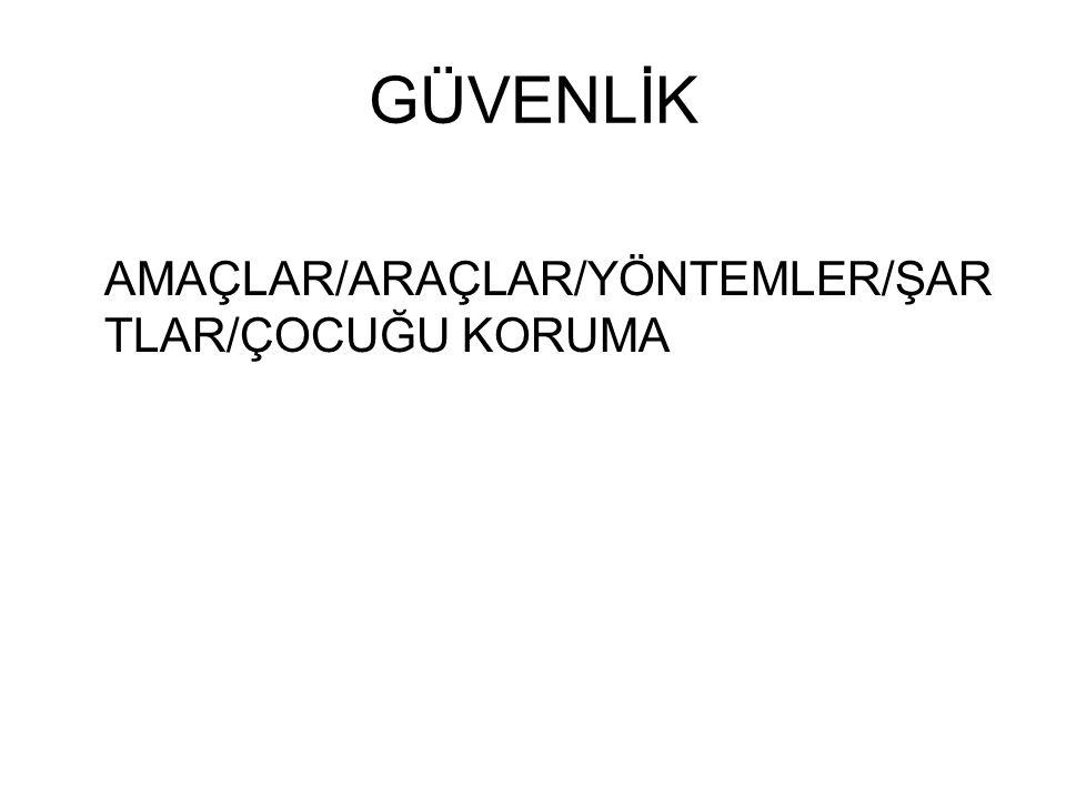 GÜVENLİK AMAÇLAR/ARAÇLAR/YÖNTEMLER/ŞAR TLAR/ÇOCUĞU KORUMA