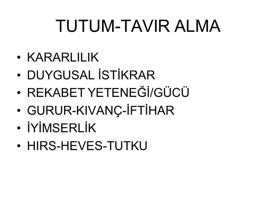 TUTUM-TAVIR ALMA KARARLILIK DUYGUSAL İSTİKRAR REKABET YETENEĞİ/GÜCÜ GURUR-KIVANÇ-İFTİHAR İYİMSERLİK HIRS-HEVES-TUTKU