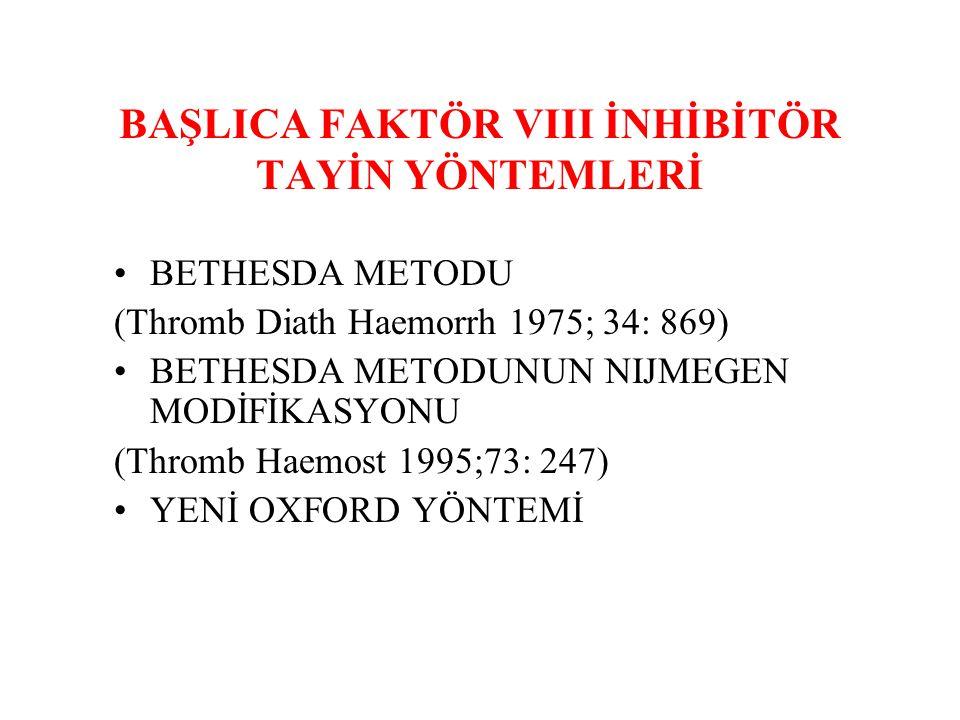 BAŞLICA FAKTÖR VIII İNHİBİTÖR TAYİN YÖNTEMLERİ BETHESDA METODU (Thromb Diath Haemorrh 1975; 34: 869) BETHESDA METODUNUN NIJMEGEN MODİFİKASYONU (Thromb Haemost 1995;73: 247) YENİ OXFORD YÖNTEMİ