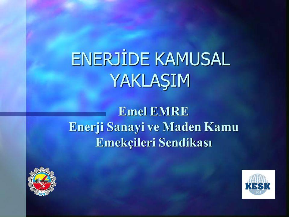 ENERJİDE KAMUSAL YAKLAŞIM Emel EMRE Enerji Sanayi ve Maden Kamu Emekçileri Sendikası