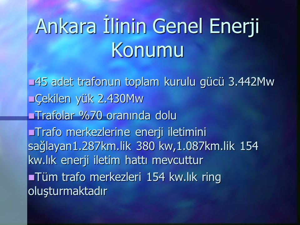 Ankara İlinin Genel Enerji Konumu 45 adet trafonun toplam kurulu gücü 3.442Mw 45 adet trafonun toplam kurulu gücü 3.442Mw Çekilen yük 2.430Mw Çekilen