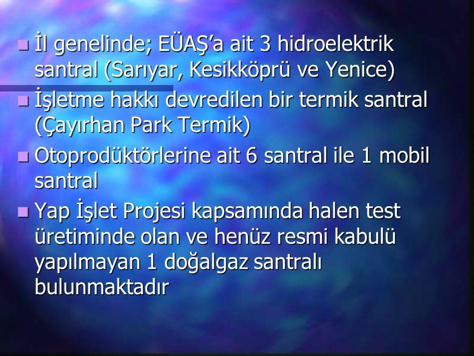 İl genelinde; EÜAŞ'a ait 3 hidroelektrik santral (Sarıyar, Kesikköprü ve Yenice) İl genelinde; EÜAŞ'a ait 3 hidroelektrik santral (Sarıyar, Kesikköprü