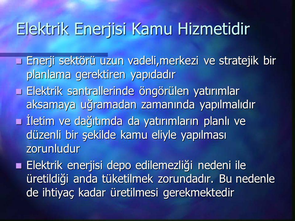 Elektrik Enerjisi Kamu Hizmetidir Enerji sektörü uzun vadeli,merkezi ve stratejik bir planlama gerektiren yapıdadır Enerji sektörü uzun vadeli,merkezi