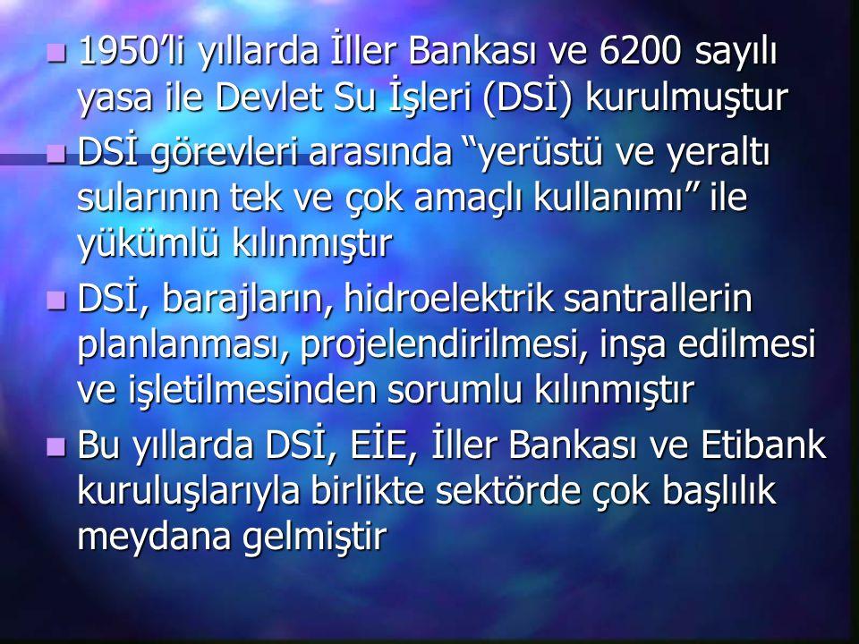 1950'li yıllarda İller Bankası ve 6200 sayılı yasa ile Devlet Su İşleri (DSİ) kurulmuştur 1950'li yıllarda İller Bankası ve 6200 sayılı yasa ile Devle