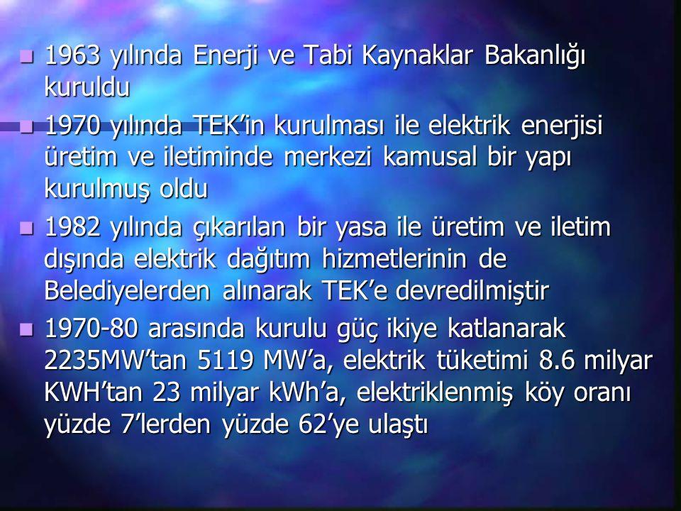 1963 yılında Enerji ve Tabi Kaynaklar Bakanlığı kuruldu 1963 yılında Enerji ve Tabi Kaynaklar Bakanlığı kuruldu 1970 yılında TEK'in kurulması ile elek