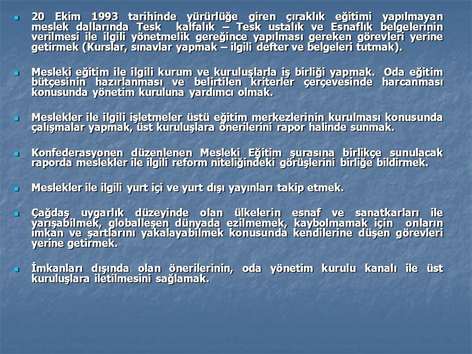 20 Ekim 1993 tarihinde yürürlüğe giren çıraklık eğitimi yapılmayan meslek dallarında Tesk kalfalık – Tesk ustalık ve Esnaflık belgelerinin verilmesi i