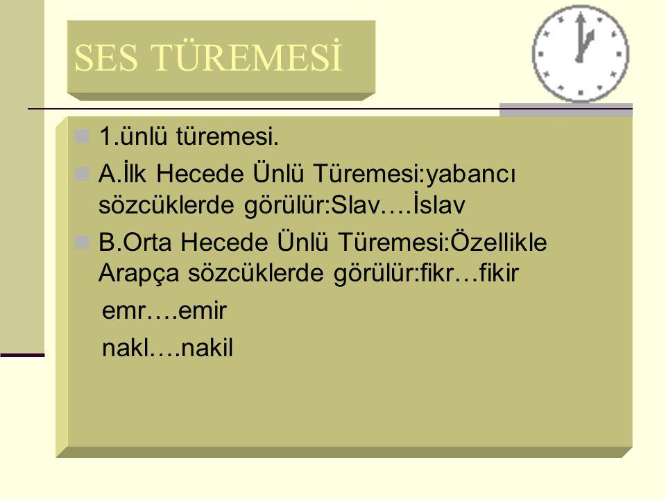 SES TÜREMESİ 1.ünlü türemesi.