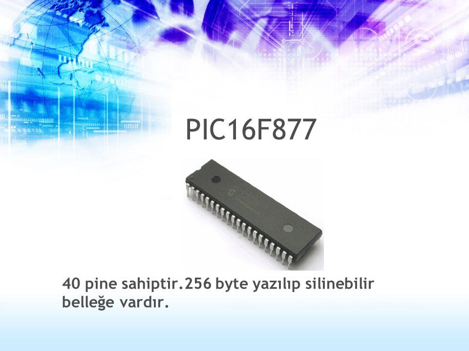 40 pine sahiptir.256 byte yazılıp silinebilir belleğe vardır. PIC16F877