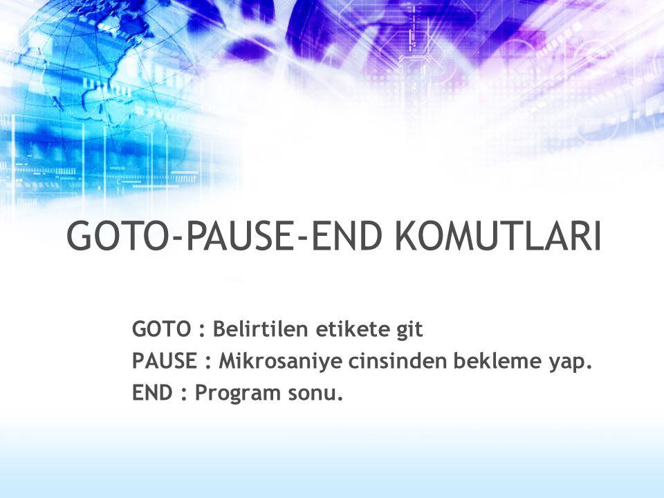 GOTO : Belirtilen etikete git PAUSE : Mikrosaniye cinsinden bekleme yap. END : Program sonu. GOTO-PAUSE-END KOMUTLARI
