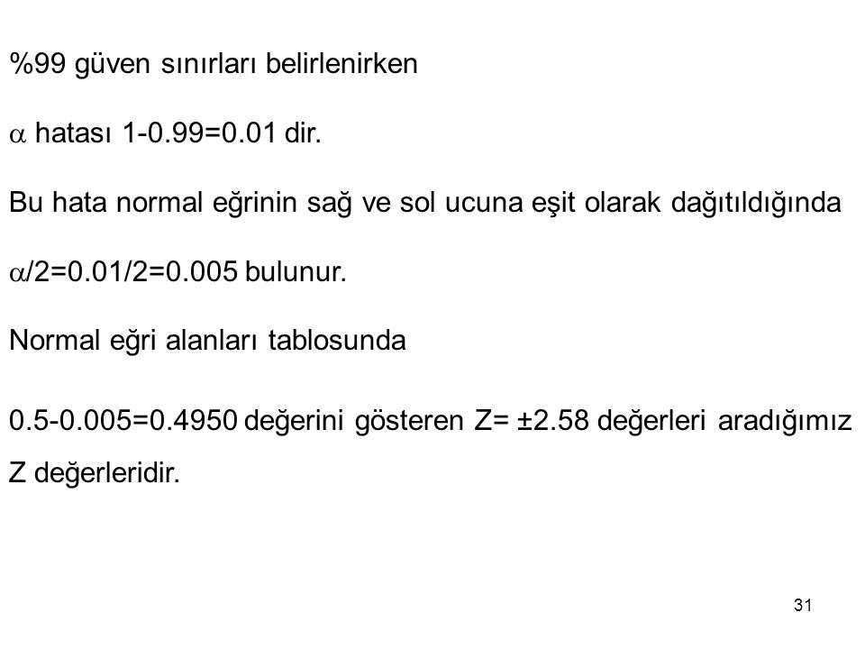 31 %99 güven sınırları belirlenirken  hatası 1-0.99=0.01 dir. Bu hata normal eğrinin sağ ve sol ucuna eşit olarak dağıtıldığında  /2=0.01/2=0.005 bu