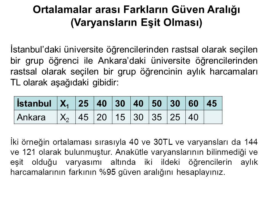İstanbul'daki üniversite öğrencilerinden rastsal olarak seçilen bir grup öğrenci ile Ankara'daki üniversite öğrencilerinden rastsal olarak seçilen bir