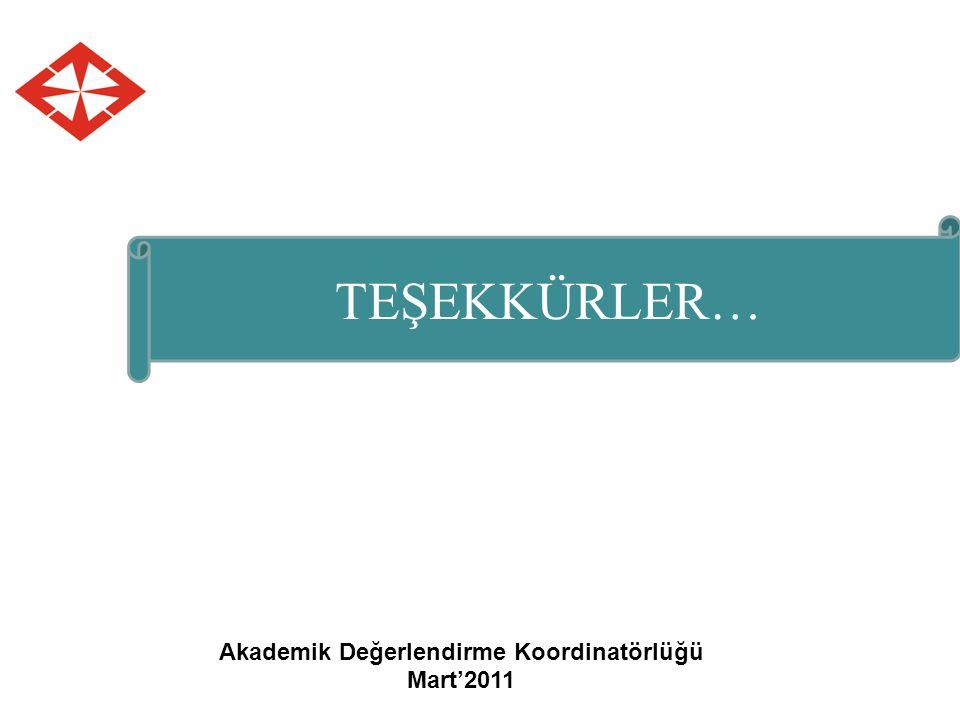 Akademik Değerlendirme Koordinatörlüğü Mart'2011 TEŞEKKÜRLER…