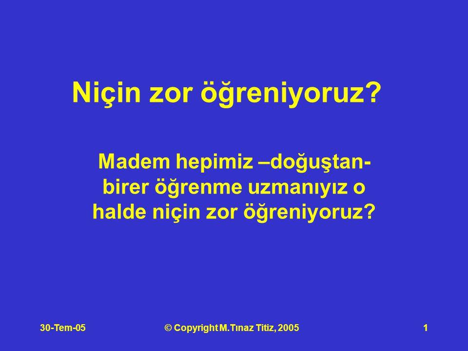 30-Tem-05© Copyright M.Tınaz Titiz, 20051 Niçin zor öğreniyoruz.