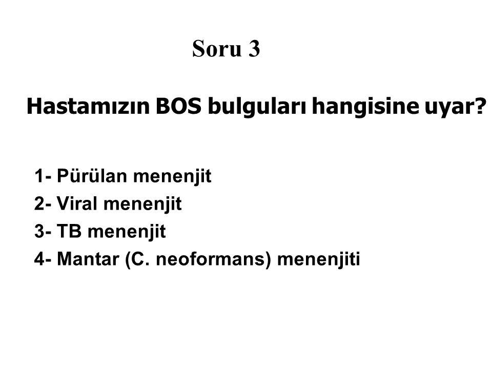 Hastamızın BOS bulguları hangisine uyar.