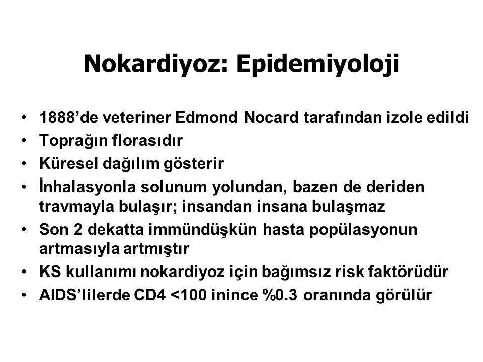 Nokardiyoz: Epidemiyoloji 1888'de veteriner Edmond Nocard tarafından izole edildi Toprağın florasıdır Küresel dağılım gösterir İnhalasyonla solunum yolundan, bazen de deriden travmayla bulaşır; insandan insana bulaşmaz Son 2 dekatta immündüşkün hasta popülasyonun artmasıyla artmıştır KS kullanımı nokardiyoz için bağımsız risk faktörüdür AIDS'lilerde CD4 <100 inince %0.3 oranında görülür