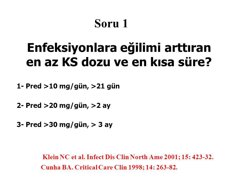 Enfeksiyonlara eğilimi arttıran en az KS dozu ve en kısa süre.