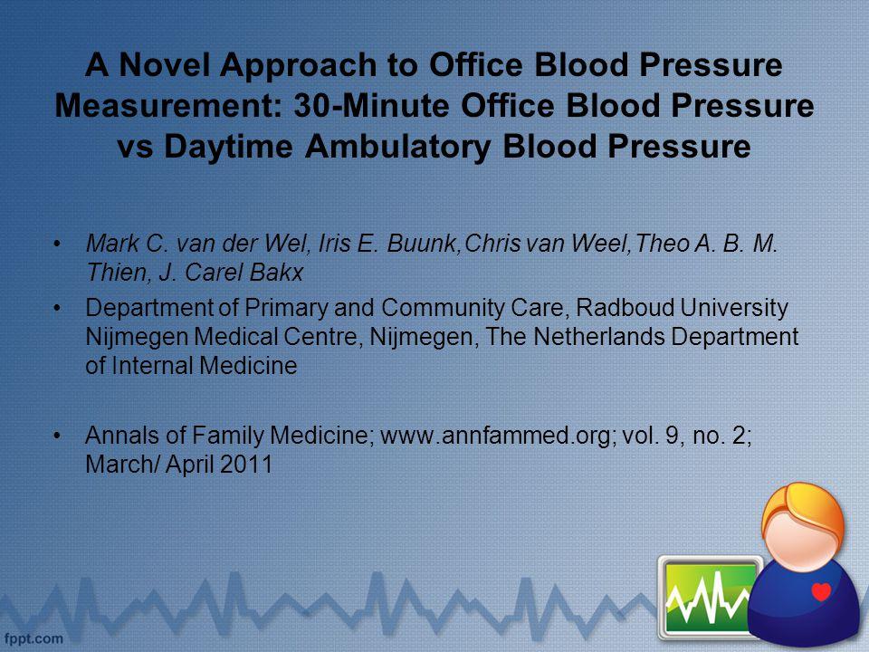 A Novel Approach to Office Blood Pressure Measurement: 30-Minute Office Blood Pressure vs Daytime Ambulatory Blood Pressure Mark C. van der Wel, Iris