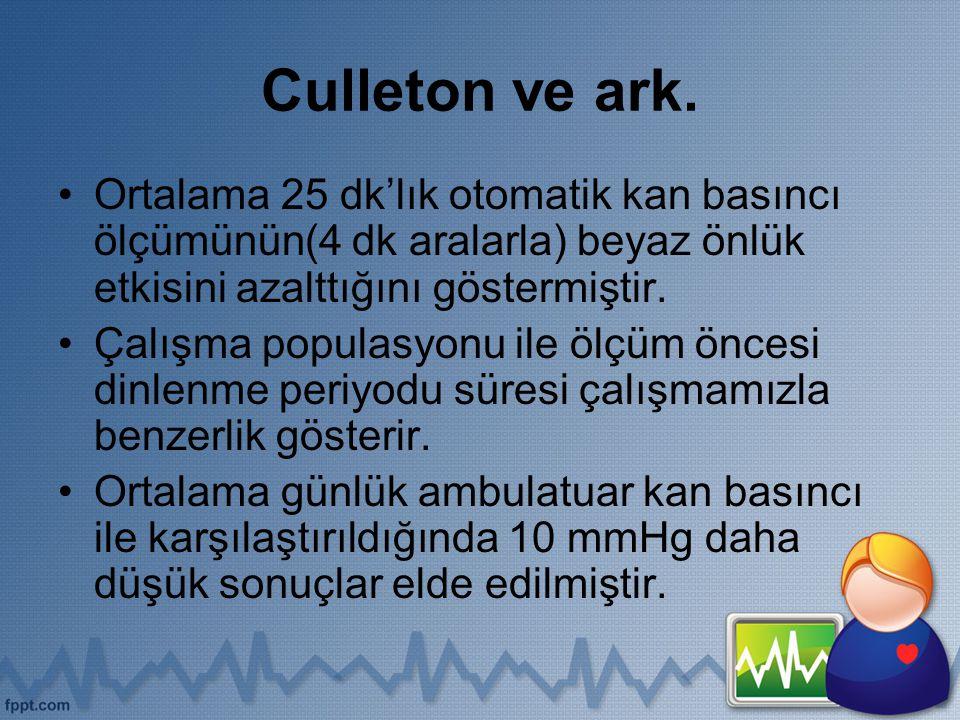 Culleton ve ark. Ortalama 25 dk'lık otomatik kan basıncı ölçümünün(4 dk aralarla) beyaz önlük etkisini azalttığını göstermiştir. Çalışma populasyonu i