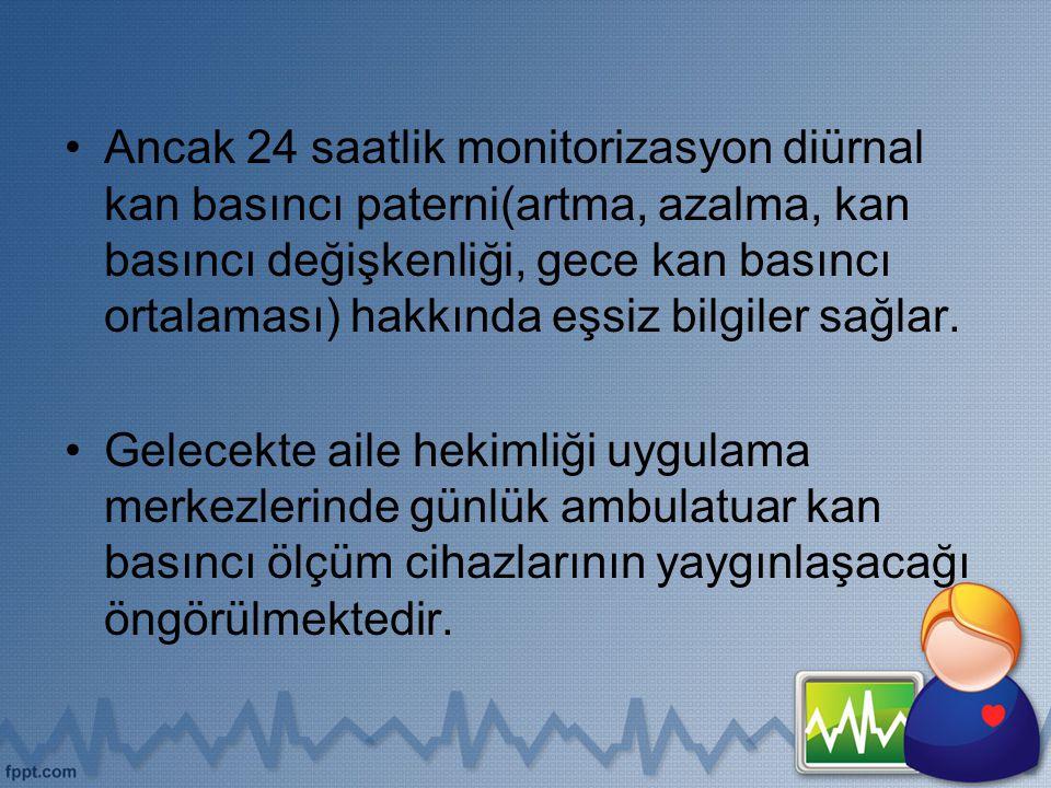 Ancak 24 saatlik monitorizasyon diürnal kan basıncı paterni(artma, azalma, kan basıncı değişkenliği, gece kan basıncı ortalaması) hakkında eşsiz bilgi