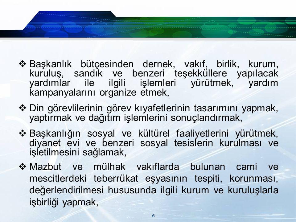 17  Yine Mülkiyeti Sosyal Güvenlik Kurumuna ait Ankara Ulus İtfaiye meydanında bulunan ve Büyükşehir Belediyesince cami yeri olarak plan değişikliği yapılan 9660 m² yüz ölçümlü arsanın cami yapılmak üzere Başkanlığımıza geçici tahsisi sağlanmıştır.