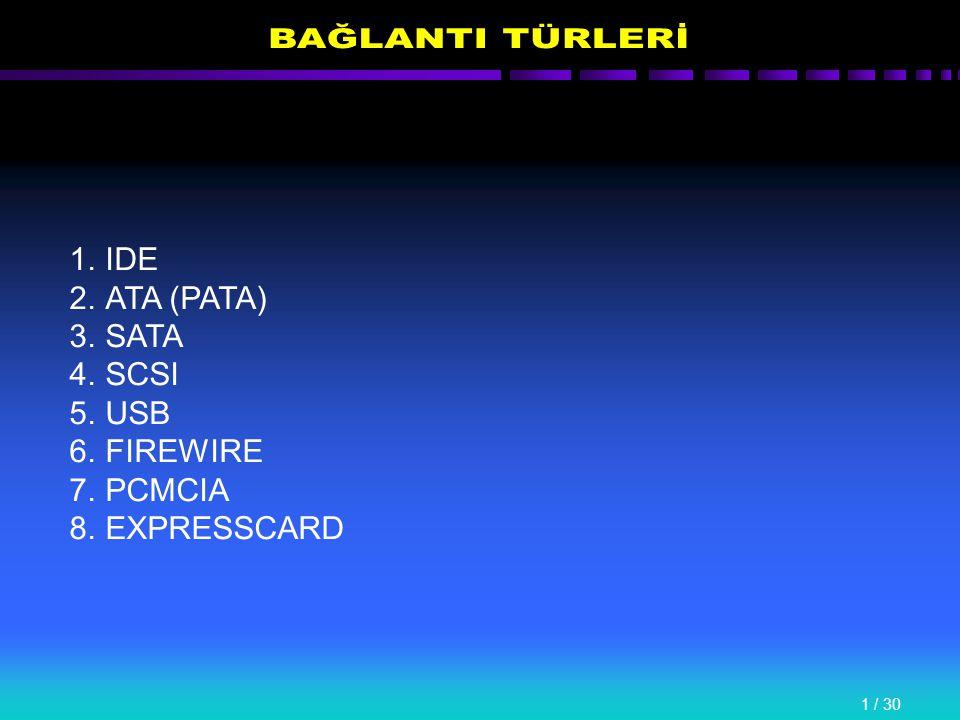 1 / 30 1.IDE 2.ATA (PATA) 3.SATA 4.SCSI 5.USB 6.FIREWIRE 7.PCMCIA 8.EXPRESSCARD