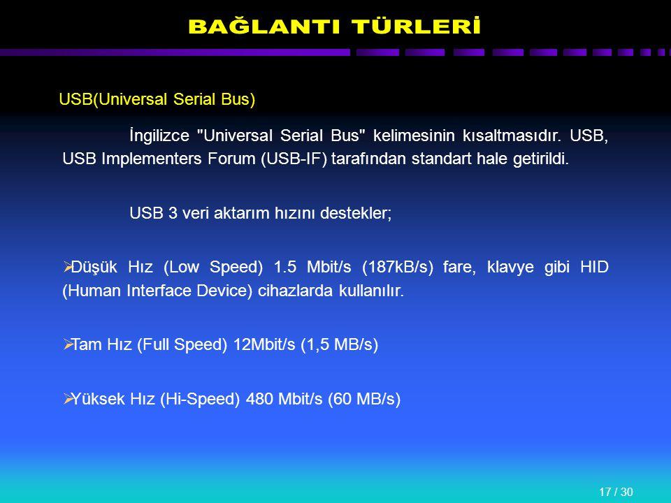 17 / 30 USB(Universal Serial Bus) İngilizce Universal Serial Bus kelimesinin kısaltmasıdır.