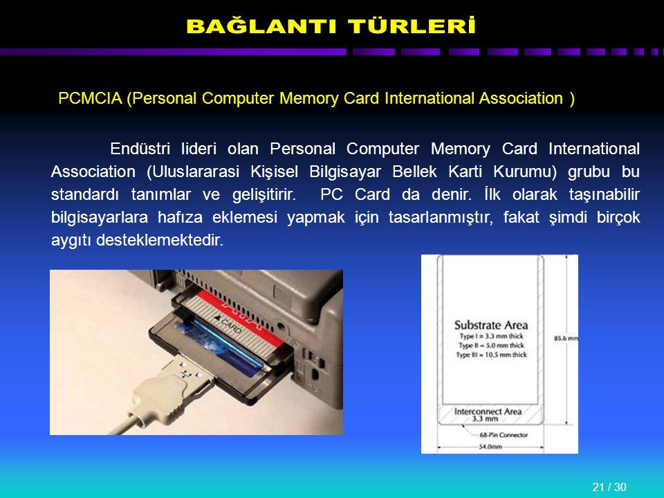 21 / 30 PCMCIA (Personal Computer Memory Card International Association ) Endüstri lideri olan Personal Computer Memory Card International Association (Uluslararasi Kişisel Bilgisayar Bellek Karti Kurumu) grubu bu standardı tanımlar ve gelişitirir.