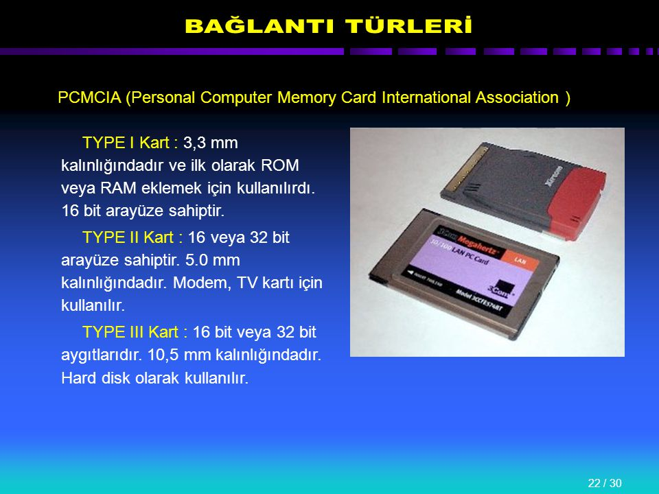 22 / 30 PCMCIA (Personal Computer Memory Card International Association ) TYPE I Kart : 3,3 mm kalınlığındadır ve ilk olarak ROM veya RAM eklemek için kullanılırdı.