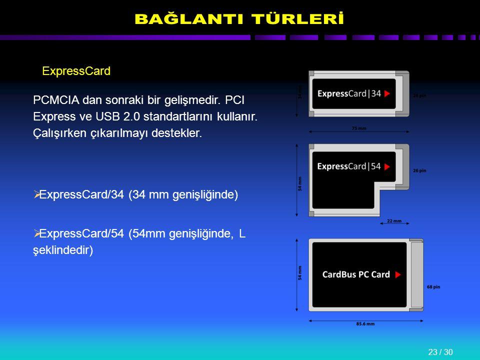 23 / 30 ExpressCard PCMCIA dan sonraki bir gelişmedir.