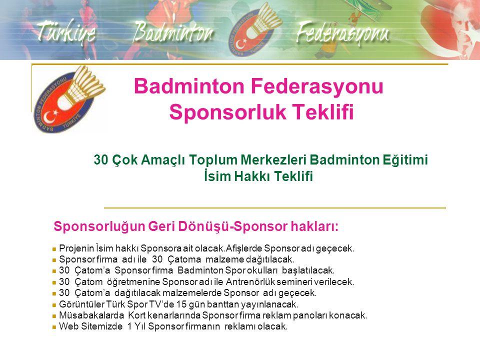 Badminton Federasyonu Sponsorluk Teklifi 30 Çok Amaçlı Toplum Merkezleri Badminton Eğitimi İsim Hakkı Teklifi Sponsorluğun Geri Dönüşü-Sponsor hakları: Projenin İsim hakkı Sponsora ait olacak.Afişlerde Sponsor adı geçecek.
