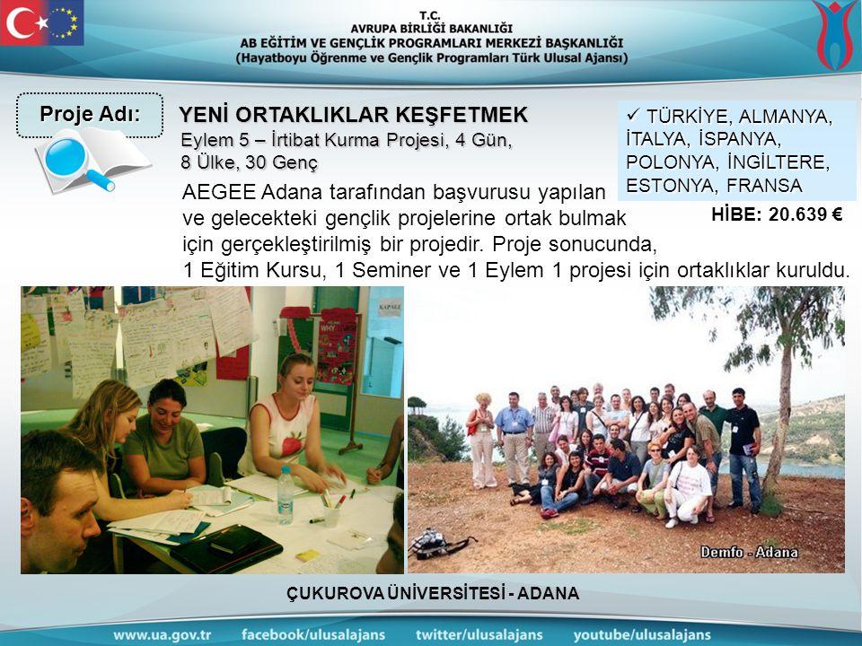 ÇUKUROVA ÜNİVERSİTESİ - ADANA YENİ ORTAKLIKLAR KEŞFETMEK AEGEE Adana tarafından başvurusu yapılan ve gelecekteki gençlik projelerine ortak bulmak için gerçekleştirilmiş bir projedir.