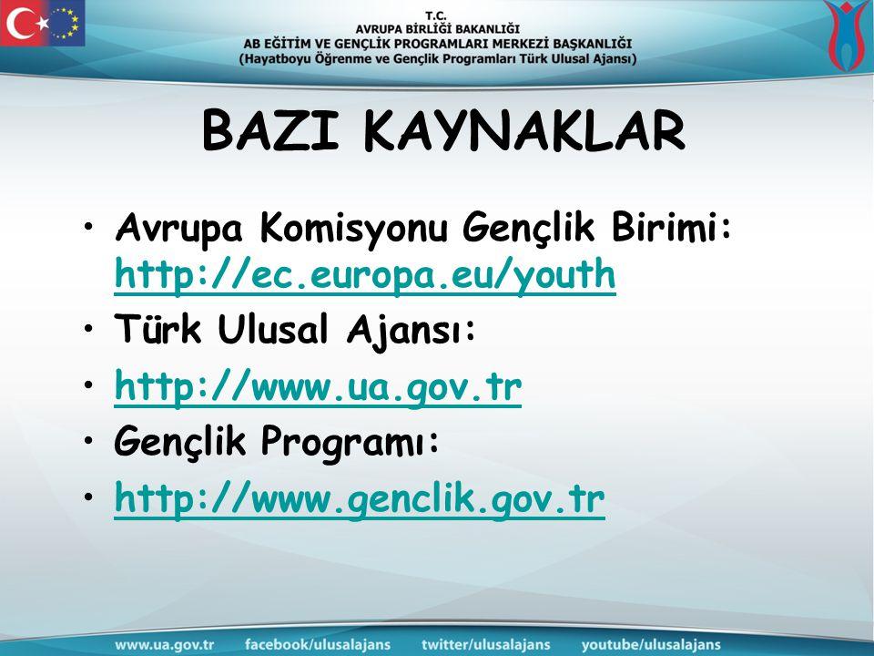 BAZI KAYNAKLAR Avrupa Komisyonu Gençlik Birimi: http://ec.europa.eu/youth http://ec.europa.eu/youth Türk Ulusal Ajansı: http://www.ua.gov.trhttp://www.ua.gov.tr Gençlik Programı: http://www.genclik.gov.trhttp://www.genclik.gov.tr