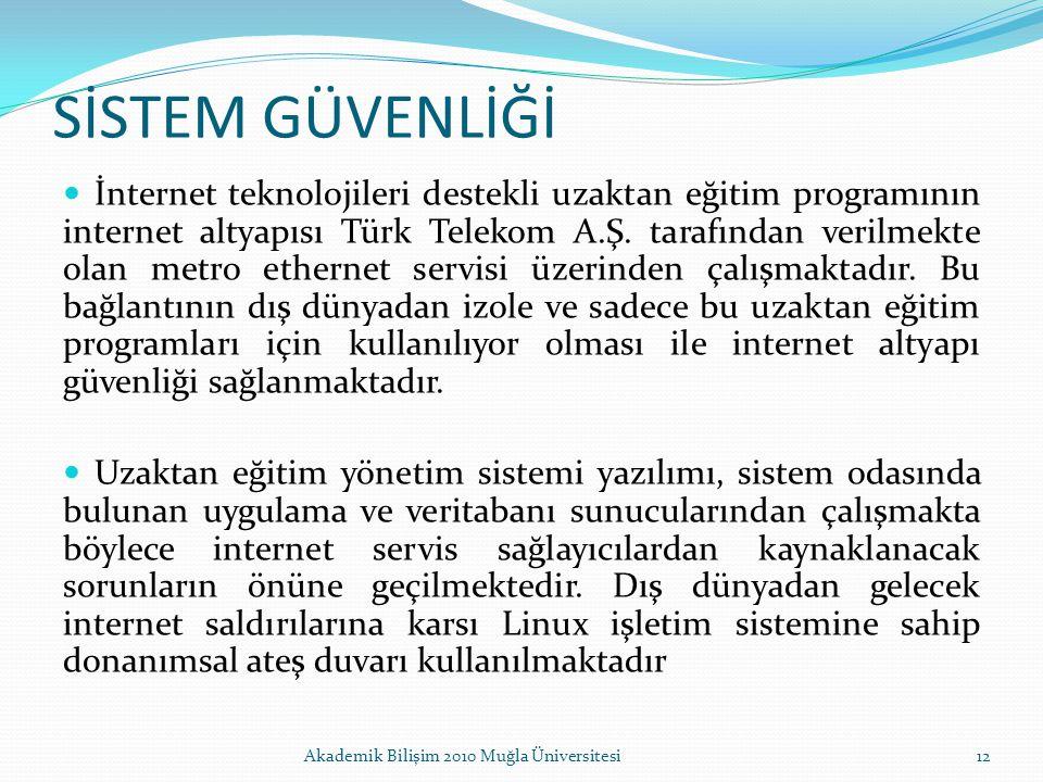 SİSTEM GÜVENLİĞİ İnternet teknolojileri destekli uzaktan eğitim programının internet altyapısı Türk Telekom A.Ş. tarafından verilmekte olan metro ethe