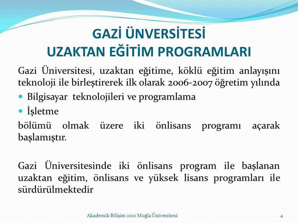 GAZİ ÜNVERSİTESİ UZAKTAN EĞİTİM PROGRAMLARI Gazi Üniversitesi, uzaktan eğitime, köklü eğitim anlayışını teknoloji ile birleştirerek ilk olarak 2006-20