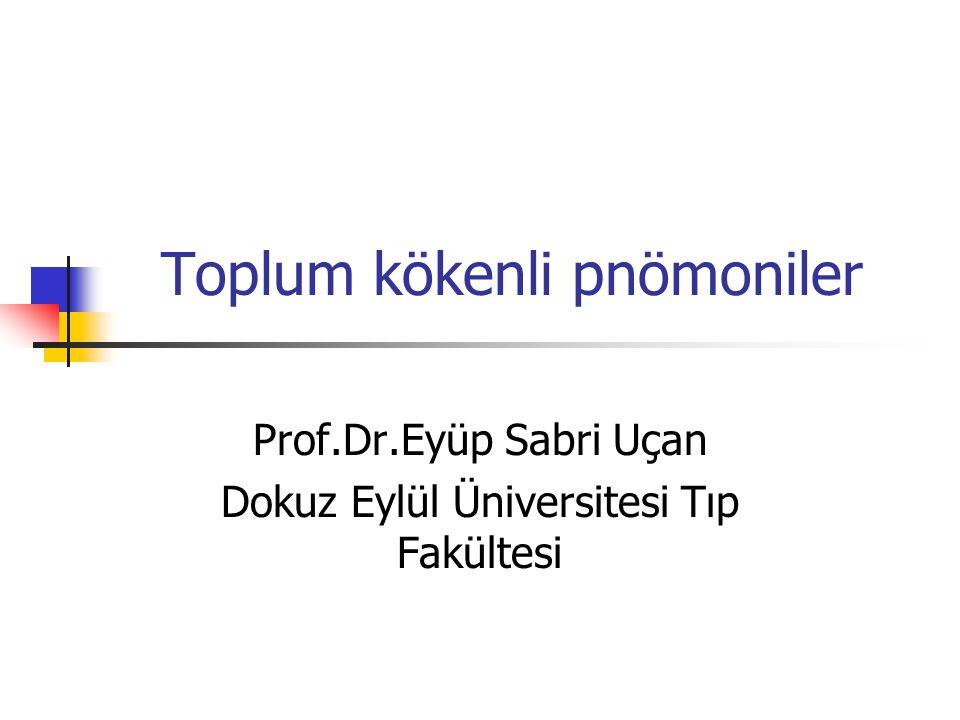 Prof.Dr.Eyüp Sabri Uçan Dokuz Eylül Üniversitesi Tıp Fakültesi Toplum kökenli pnömoniler