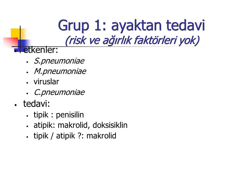 Grup 1: ayaktan tedavi (risk ve ağırlık faktörleri yok) etkenler: S.pneumoniae M.pneumoniae viruslar C.pneumoniae tedavi: tipik : penisilin atipik: ma