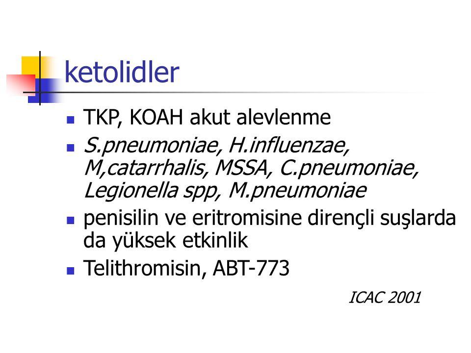 ketolidler TKP, KOAH akut alevlenme S.pneumoniae, H.influenzae, M,catarrhalis, MSSA, C.pneumoniae, Legionella spp, M.pneumoniae penisilin ve eritromis
