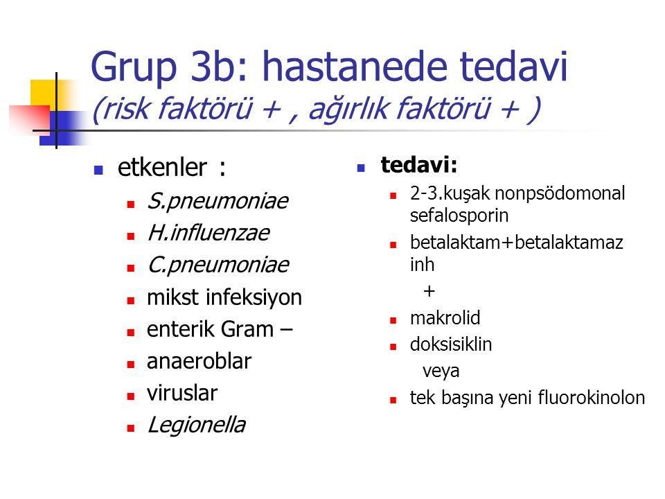 Grup 3b: hastanede tedavi (risk faktörü +, ağırlık faktörü + ) etkenler : S.pneumoniae H.influenzae C.pneumoniae mikst infeksiyon enterik Gram – anaer