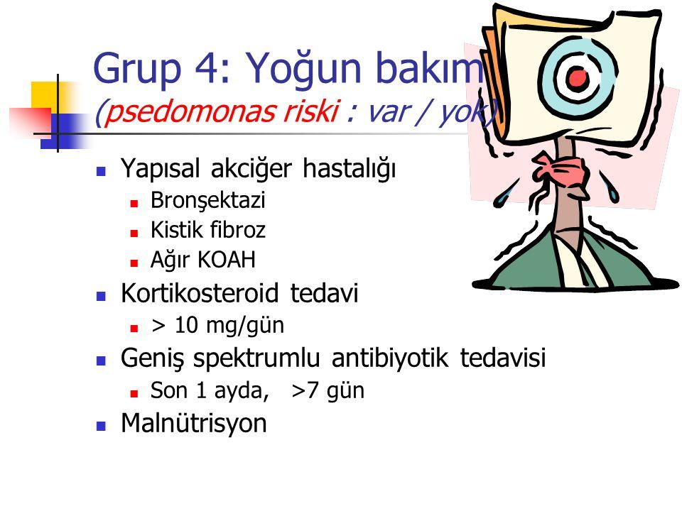 Grup 4: Yoğun bakım (psedomonas riski : var / yok) Yapısal akciğer hastalığı Bronşektazi Kistik fibroz Ağır KOAH Kortikosteroid tedavi > 10 mg/gün Gen