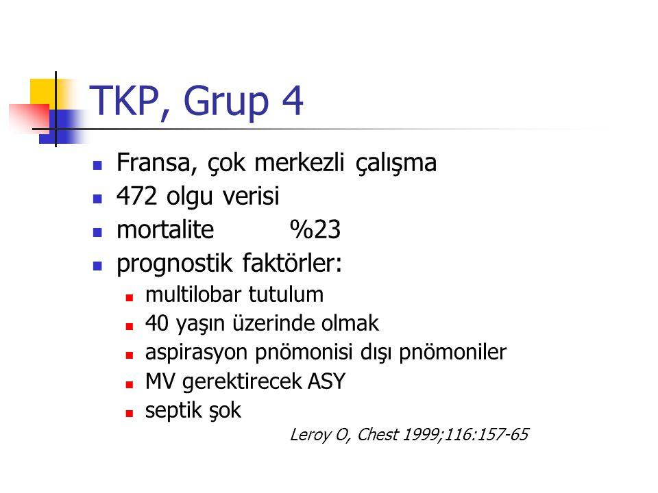 TKP, Grup 4 Fransa, çok merkezli çalışma 472 olgu verisi mortalite %23 prognostik faktörler: multilobar tutulum 40 yaşın üzerinde olmak aspirasyon pnö