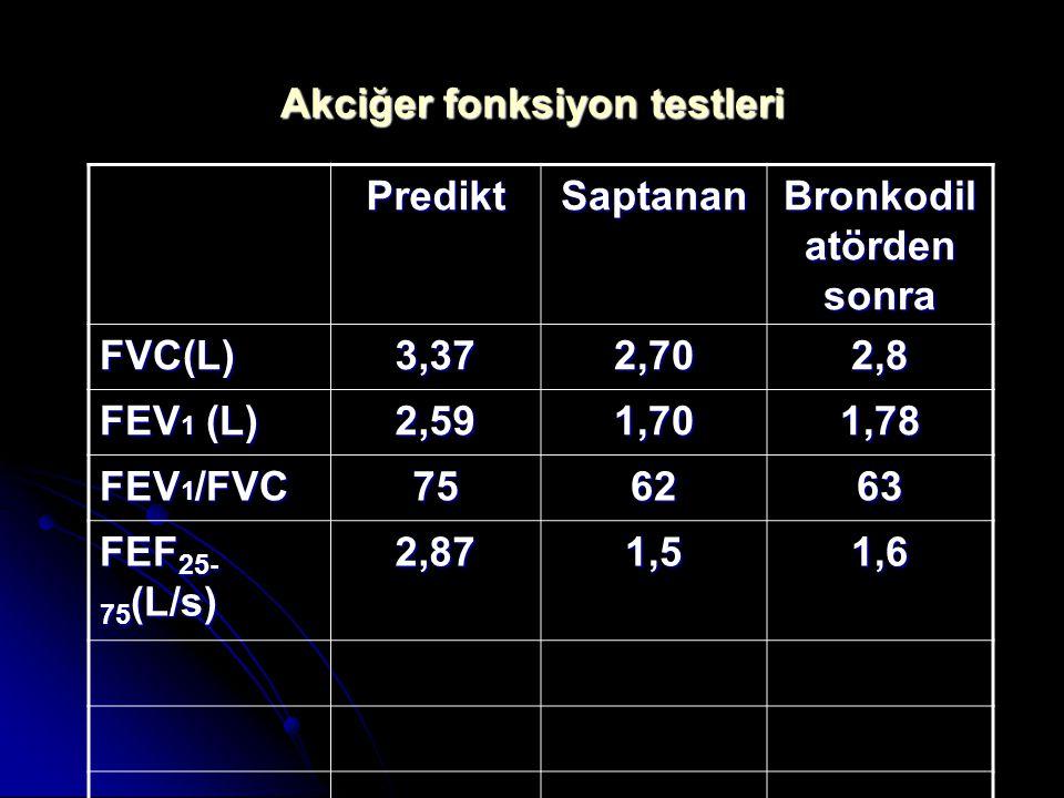 PrediktSaptanan% FVC(L)3,372,7080 FEV 1 (L) 2,591,7065 FEV 1 /FVC 7562 FEF 25- 75 (L/s) 2,871,552 Akciğer fonksiyon testleri