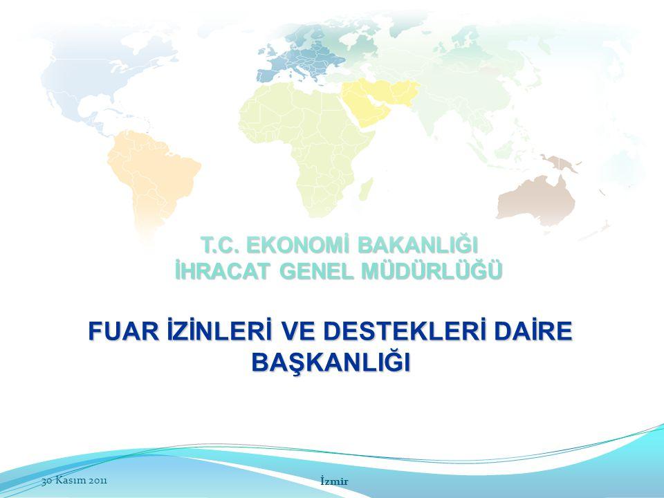 32 2010/5 SAYILI TEBLİĞ Organizatörlerin görev ve sorumluluklarının tespit edilmesi ve faaliyetlerinin değerlendirilmesini ele alır; Organizatörlerin Hak ve Yükümlülükleri Yurt Dışı Fuarların Denetimi ve Değerlendirilmesi Müeyyideler FUAR İZİNLERİ VE DESTEKLERİ DAİRE BAŞKANLIĞI İzmir30 Kasım 2011